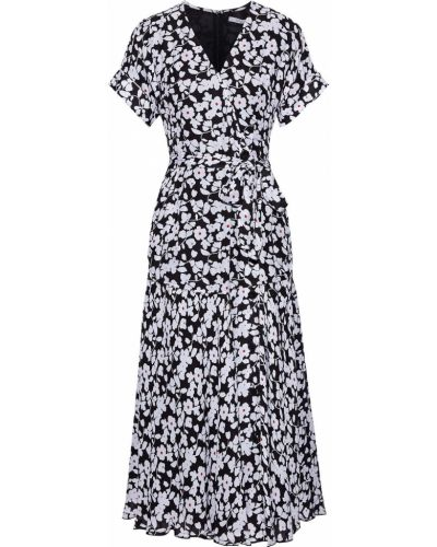 Шелковое черное платье миди с подкладкой Derek Lam 10 Crosby