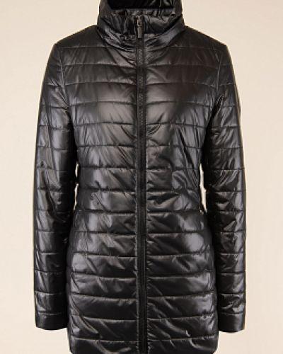 Черная утепленная длинная куртка с воротником каляев