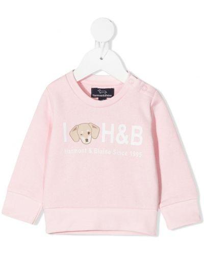 С рукавами розовый свитшот круглый с круглым вырезом Harmont & Blaine Junior