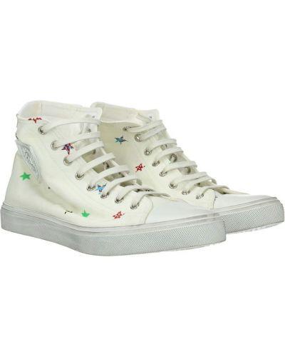 Białe sneakersy materiałowe płaska podeszwa Saint Laurent