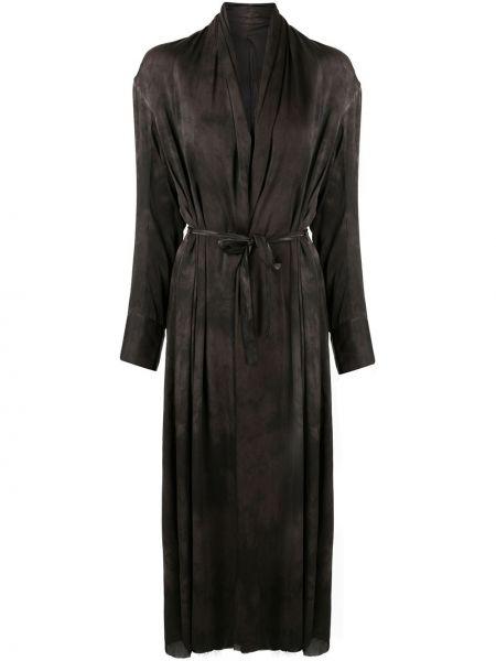 Шелковое черное длинное пальто на пуговицах Masnada
