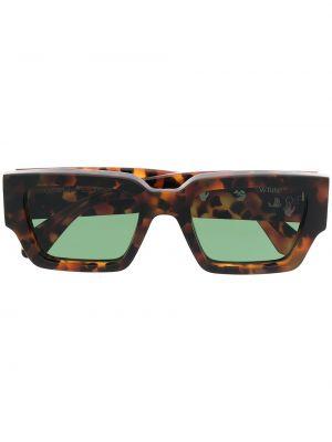 Коричневые прямые солнцезащитные очки прямоугольные Off-white