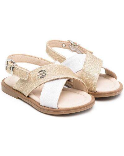 Białe złote sandały peep toe Florens