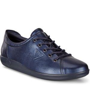 Синие текстильные мягкие кеды на шнуровке Ecco