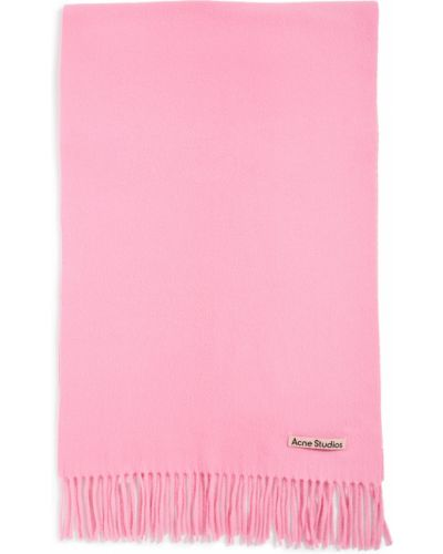 Różowy szalik wełniany z frędzlami Acne Studios