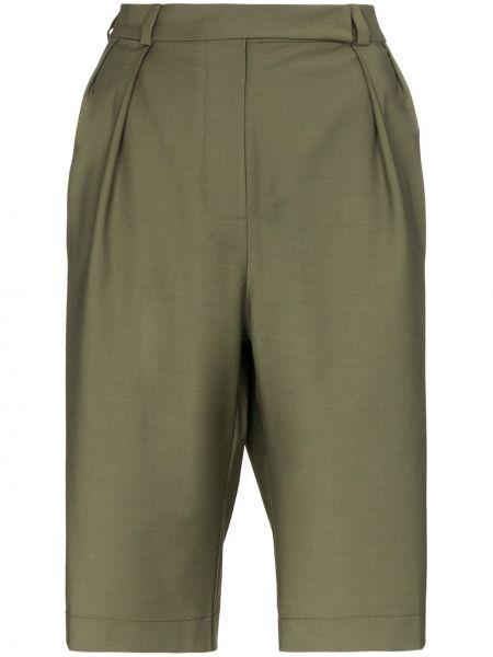 Шерстяные зеленые шорты со складками Anouki