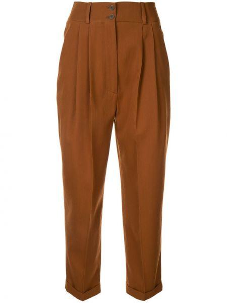 Шерстяные коричневые укороченные брюки со складками на пуговицах Nehera