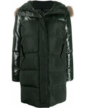 Прямая куртка с капюшоном из енота мятная Blauer
