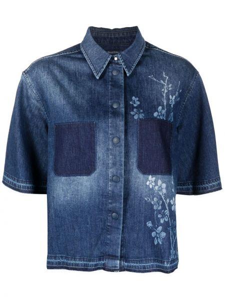 Синяя джинсовая рубашка с короткими рукавами с воротником Jacob Cohen