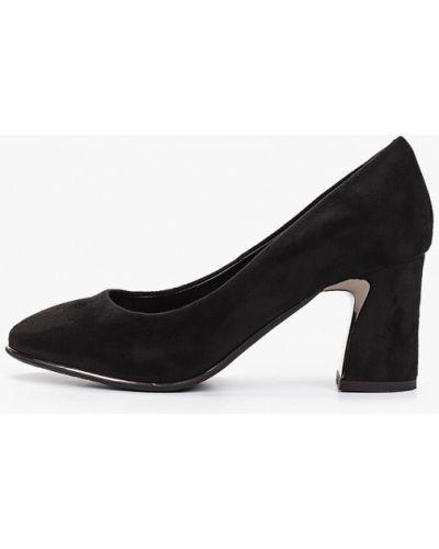 Велюровые черные туфли закрытые Zenden