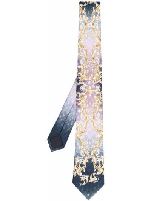 Krawat z printem - fioletowy Philipp Plein