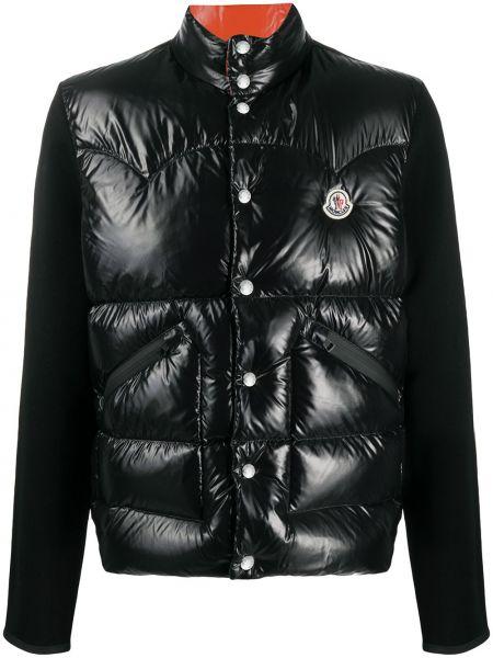 Bawełna czarny długa kurtka z kieszeniami z ozdobnym wykończeniem Moncler