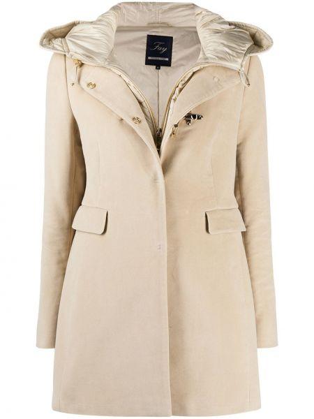 Хлопковое классическое стеганое пальто с капюшоном на молнии Fay