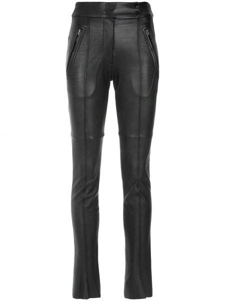 Кожаные черные зауженные брюки со складками Gloria Coelho
