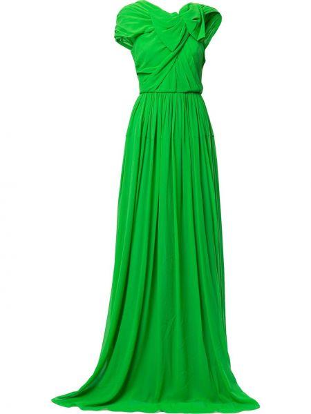 Zielona sukienka mini rozkloszowana krótki rękaw Delpozo