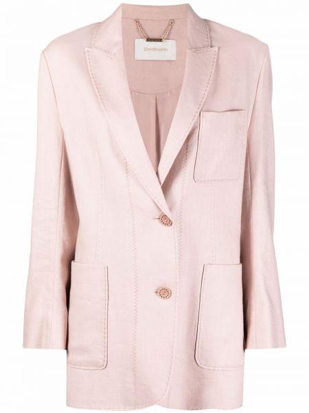 Шелковый однобортный розовый удлиненный пиджак Zimmermann