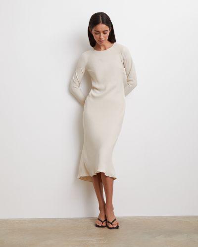 Приталенное с рукавами платье миди на молнии 12storeez
