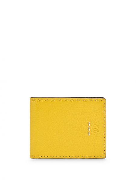 Черный кошелек для монет из натуральной кожи с карманами Fendi