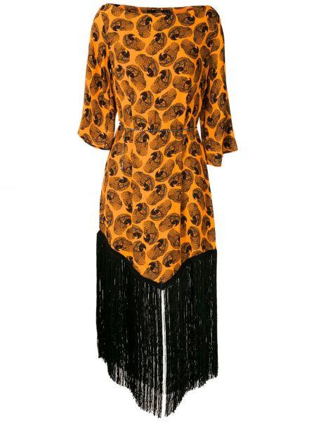 Платье миди с принтом - оранжевое Eva