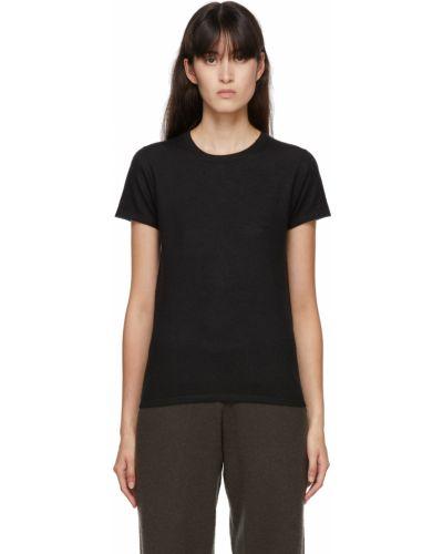 Z kaszmiru czarny t-shirt krótki rękaw Frenckenberger