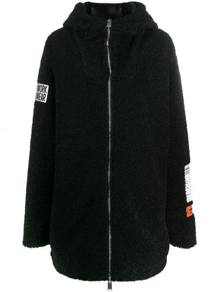 Черное пальто классическое оверсайз с капюшоном Heron Preston