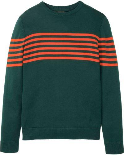 Зеленый пуловер с вырезом круглый Bonprix