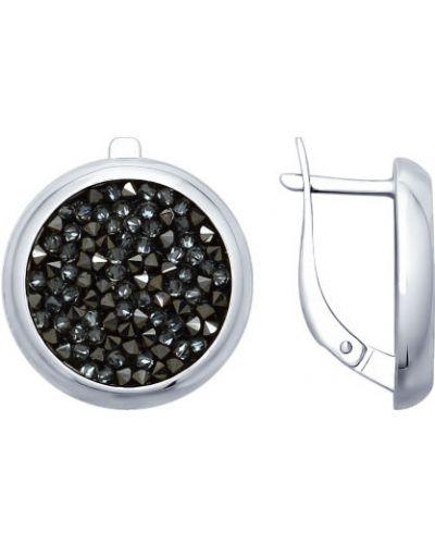 Серебряные серьги круглые Sokolov