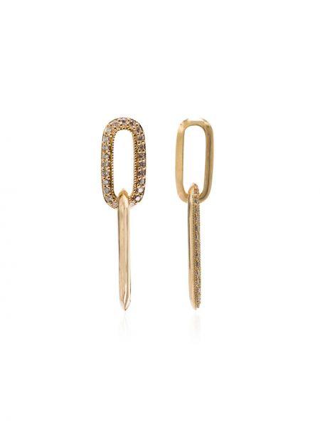 Золотые серьги с бриллиантом золотые с подвесками Lizzie Mandler Fine Jewelry