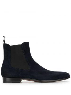 Кожаные синие ботинки челси на каблуке эластичные Magnanni