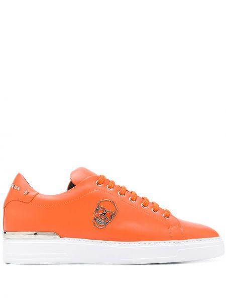 Оранжевые кожаные кроссовки на шнурках Philipp Plein