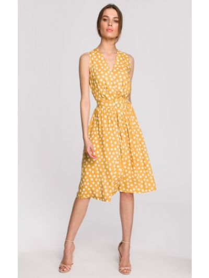 Żółta sukienka rozkloszowana kopertowa z paskiem Stylove
