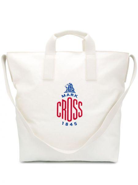 Парусиновая сумка-тоут на молнии с декоративной отделкой с карманами Mark Cross