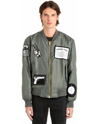 Zielona kurtka z haftem z nylonu Madeworn X Jay Z
