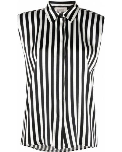 Шелковая черная классическая рубашка в полоску Laneus