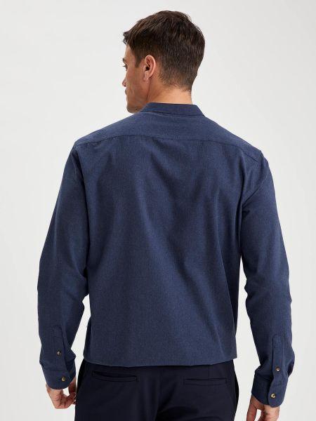 Синяя рубашка с воротником круглая Defacto