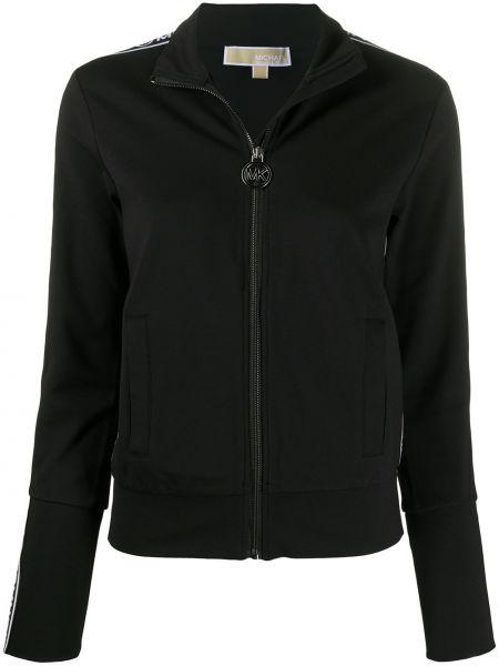 С рукавами черная длинная куртка с круглым вырезом Michael Michael Kors