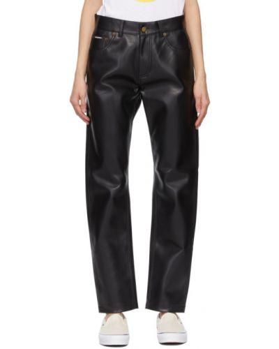 Czarne spodnie skorzane z paskiem Noon Goons