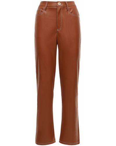 Кожаные коричневые брюки на молнии Staud