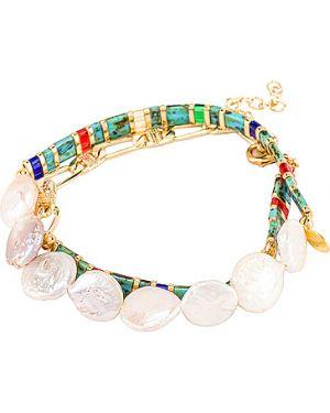 Bransoletka ze złota z perłami na gumce Shashi