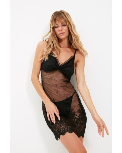 Koszula nocna koronkowa - czarna Trendyol