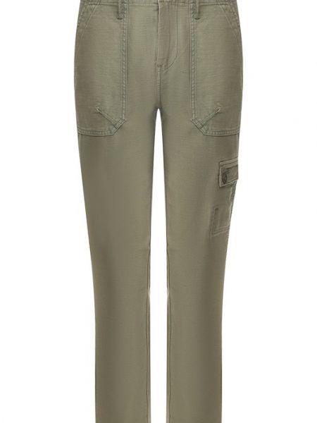 Хлопковые брюки - синие Frame Denim