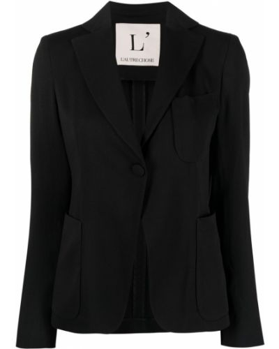 Однобортный черный удлиненный пиджак с карманами L'autre Chose