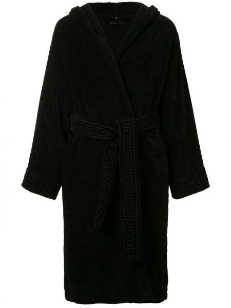 Czarny szlafrok bawełniany z kapturem Versace Home