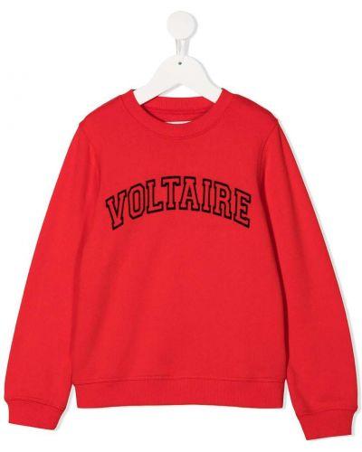 С рукавами красная хлопковая толстовка с манжетами Zadig & Voltaire Kids