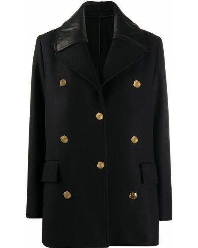 Черный кожаный удлиненный пиджак двубортный Bally