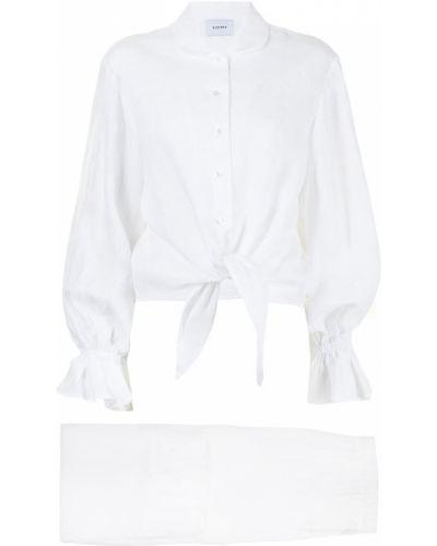 Lniany biały kombinezon z długimi rękawami Sleeper