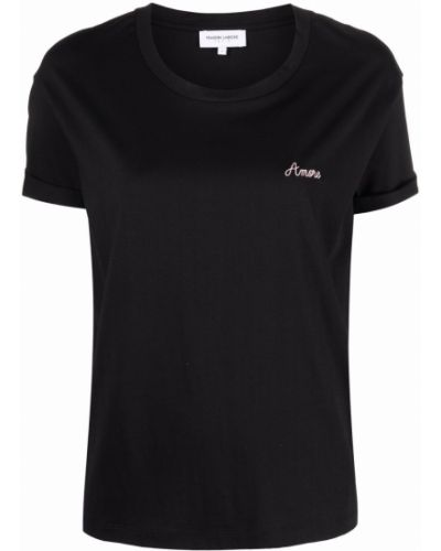 Хлопковая черная футболка с вышивкой Maison Labiche