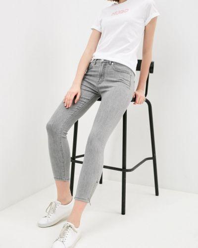 Серые джинсы-скинни узкого кроя Hugo