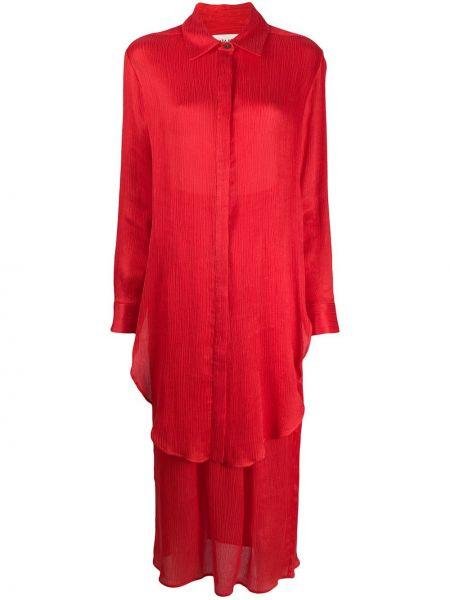 Однобортное красное платье макси с воротником с длинными рукавами Mara Hoffman