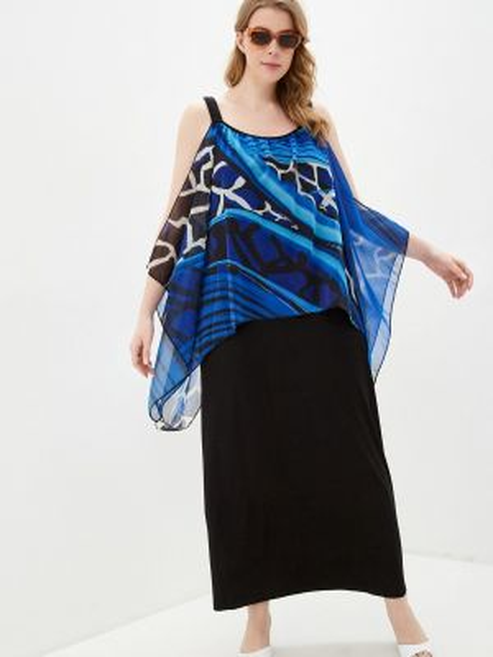 Пляжное платье синее весеннее Ulla Popken